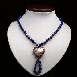 "Necklace ""Aged Silver Heart"" and Lapis lazuli _Beads"