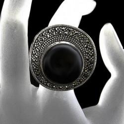 """Anello """"Cappello Chanel"""" Onice & Marcasite"""