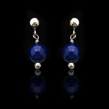 """Earrings """"Lapis lazuli Beads and Silver"""" Small"""