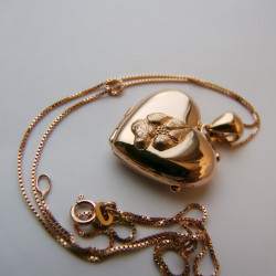 Almohadilla de perro corazón oro 18q relicario colgante portafoto