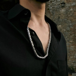 """solid silver """"Byzantine"""" or """"Borobudur"""" style chain with an intriguing SQUARE design"""