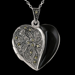 "Locket ""Countess Delfina"" Marcasites, Onyx"