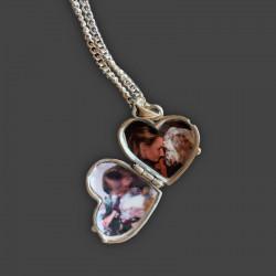 ciondolo portaricordi portafoto forma cuore con zampa di cane argento