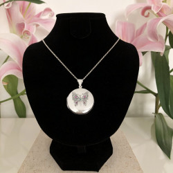 "Locket pendant ""Butterfly"" big size sterling silver"