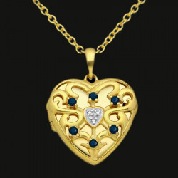 """""""Dragon Heart"""" Heart locket sterling silver gold plated with cz stones, rubies, emeralds or dark sapphires"""