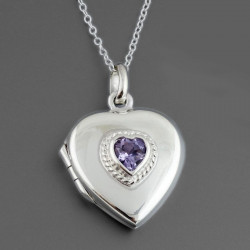 Pendant locket silver heart shape with an amethyst stone