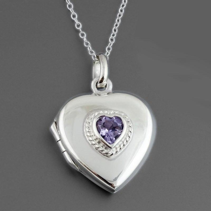Pendant locket silver heart shape with an amethyst stone