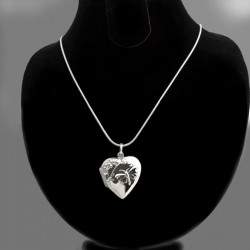 """Fly away!"" locket heart shape with a butterfly"