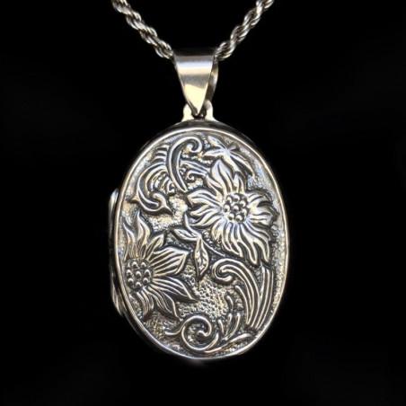 """Relicario ovalado plata """"Renacimiento Floral"""""""