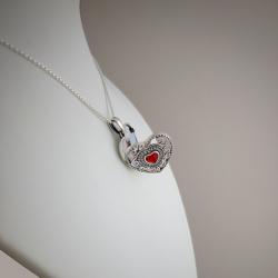"""""""Principessa Alice"""" Granate Ciondolo Portafoto cuore con la zirconia cubica in argento"""