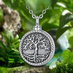 """""""Oak Tree"""" Funeral Pendant Sterling Silver"""