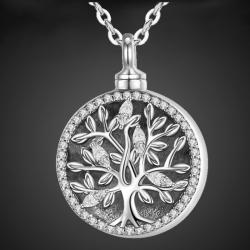 """""""Árbol de la vida: Lauro"""" relicario porta cenizas plata sólida"""