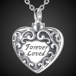 """""""Aimé pour toujours"""" Pendentif d'amour en argent sterling massif"""
