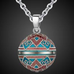 Ethnic angel caller pendant necklace long