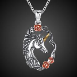 """Ciondolo """"Unicorno con rose"""" argento 925"""