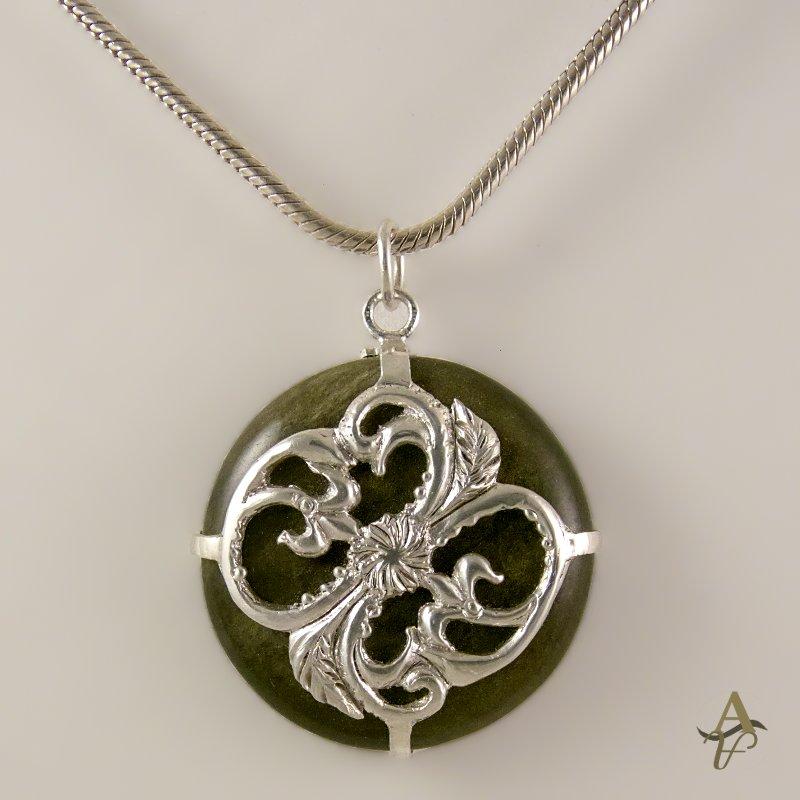 Round Obsidian stone  fleur-de-lis sterling silver fancy setting