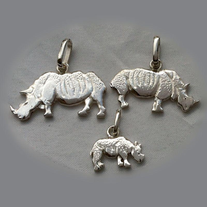 rhinoceros family pendant